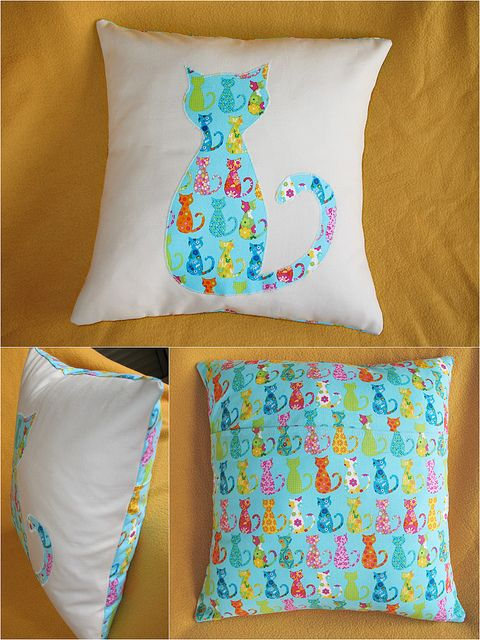 cat pillow **Michael Miller Cat Fabrics can be bought at www.modes4u.com/...