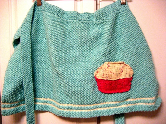 Hand Knitted Cupcake Apron ~cute?