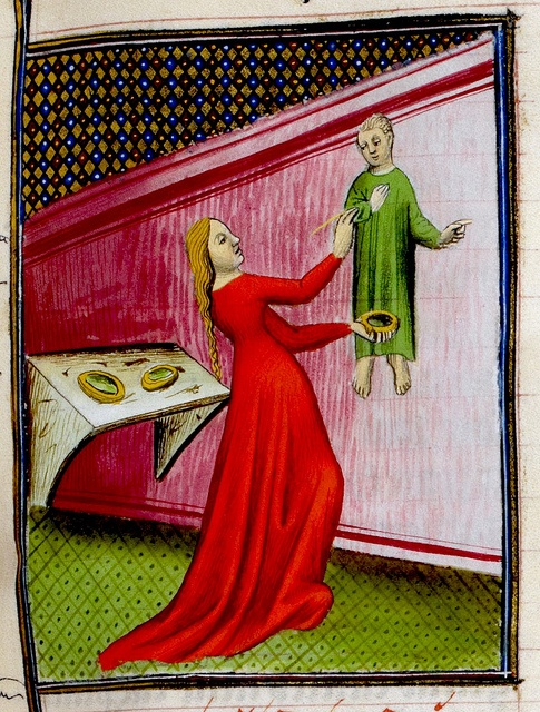 Irene, daughter of Cratinus, painting a picture of a boy. Giovanni Baccaccio. France 15th cent. Royal 20. BL