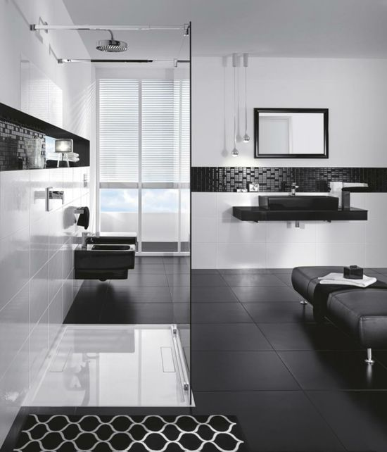 black white modern bathroom design