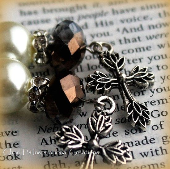 Hematite and Bronze Cross Earrings by CICinspireme on Etsy, $12.00