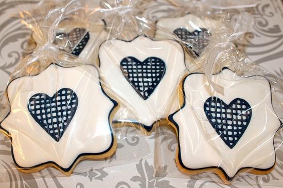Navy and white valentine cookies