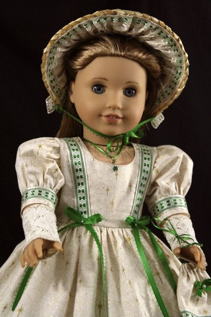 American Girl mid 1800-th style golden starlight holiday gown for Cecile, Marie Grace, Addy. $45.00, via Etsy.