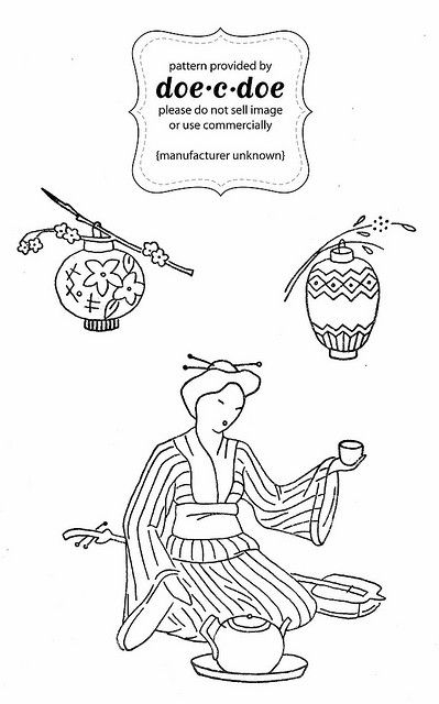 Tea ceremony embroidery pattern
