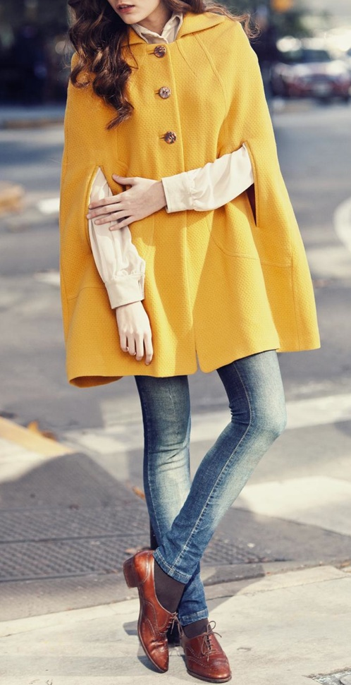 mustard cape. Not sure about the whole cape thing, but the outfit is cute.