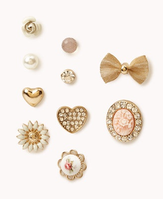 Heart & Bow Stud Set  From forever21.com