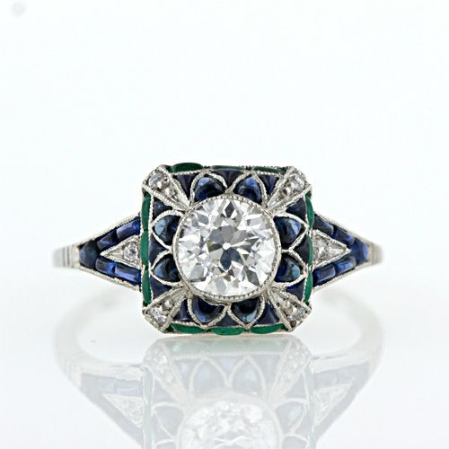 Art Deco Style Diamond, Emerald and Sapphire Ring