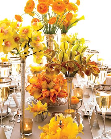yellow flowers...wild and beautiful arrangements