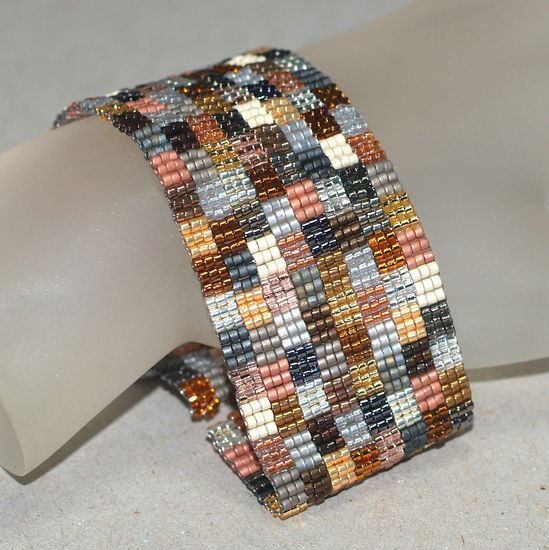 Patchwork Mine ... Handmade peyote bracelet created from beads with more than 20 different metallic colors and finishes.  Perfect for fall or ANY season!
