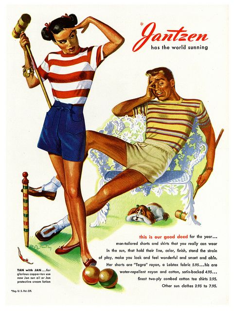 Jantzen has the world sunning! #vintage #1940s #croquet #summer #fashion #ads