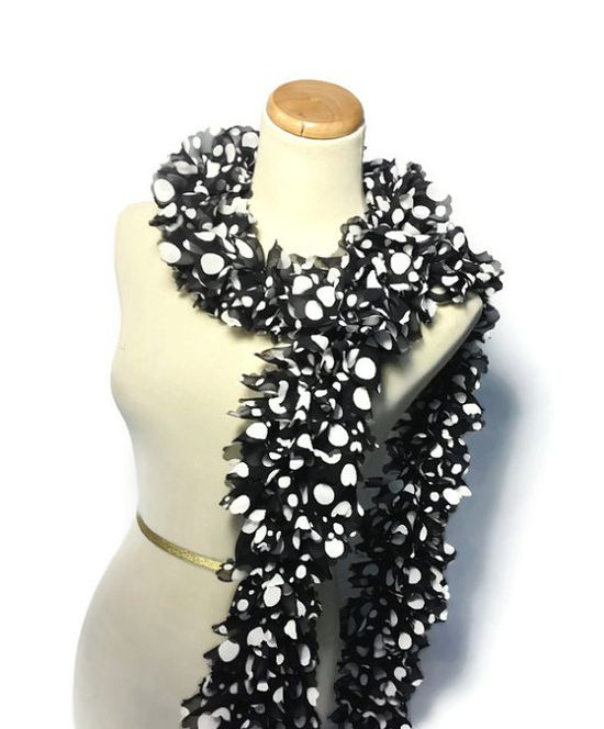 Black and White Scarf Ruffle Scarf Black Ruffle by ArlenesBoutique, $30.00 Perfect #holiday #gift #scarf