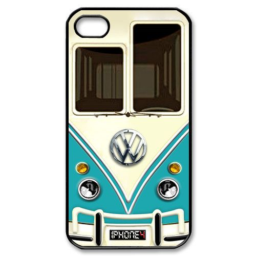 ON SALE iphone 4 case Cute kawaii blue mini bus volkswagen with chrome logo graphic Apple iPhone 4/4s Case (Black / white Color Case). $8.50, via Etsy.