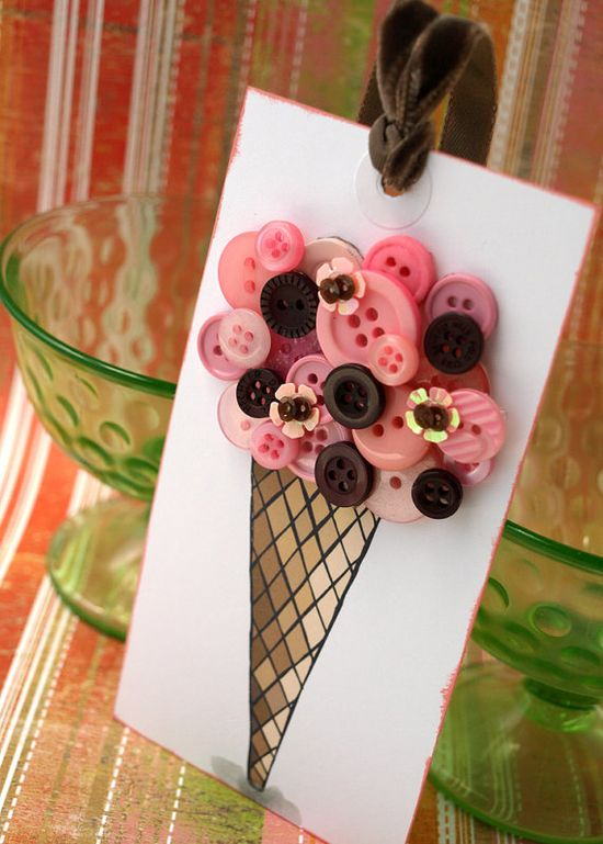ice cream cone tag using buttons