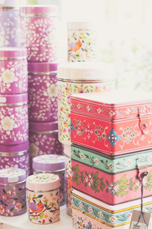 such gorgeous stacks of tins... I want them all, even if they're not vintage!