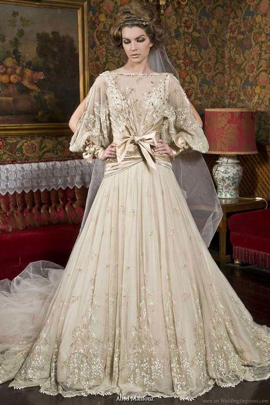 Abed Mahfouz loose long sleeve wedding dress