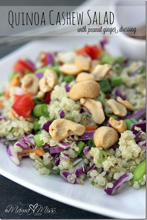 Quinoa Cashew Salad with Peanut Ginger Dressing #quinoa #salad #peanutbutter www.mamamiss.com