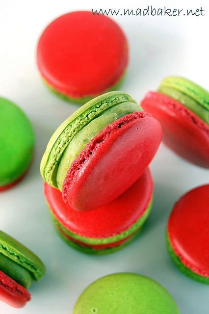 Wonderfully Christmas (or watermelon) hued Pistachio and Raspberry Macarons. #raspberry #pistachio #red #green #macarons #cookies #French #pastries #food #baking #dessert