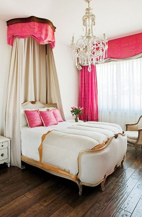 Obviously I don't want to live in a pink room with a glitzy chandelier, but I really like the upholstered footboard (wouldn't hurt running into it in the middle of the night), and the canopy reminds me of the bedrooms in the animated Cinderella.