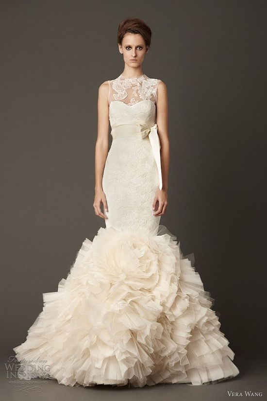 vera wang fall 2013 wedding dress sleeveless mermaid gown lace overlay