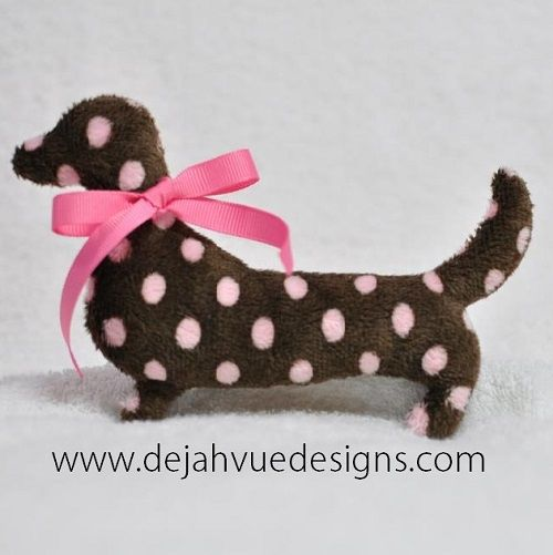 Doxie Silhouette Stuffed Animal  Embroidery Design