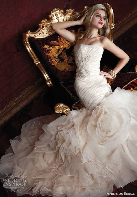 Impression bridal - sweetheart ruffled mermaid gown wedding dresses