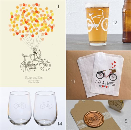 bicycle themed wedding ideas - wine glasses bicycle guest book