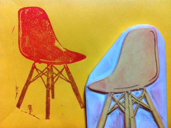 CHAIR eames chair hand carved rubber stamp by talktothesun