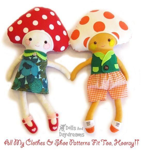 Mushroom Toadstool Doll Softie PDF Sewing Pattern Ragdoll Stuffed Toy  $10.00