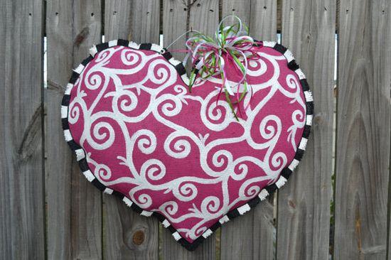 Valentine Swirl Burlap Door Hanger