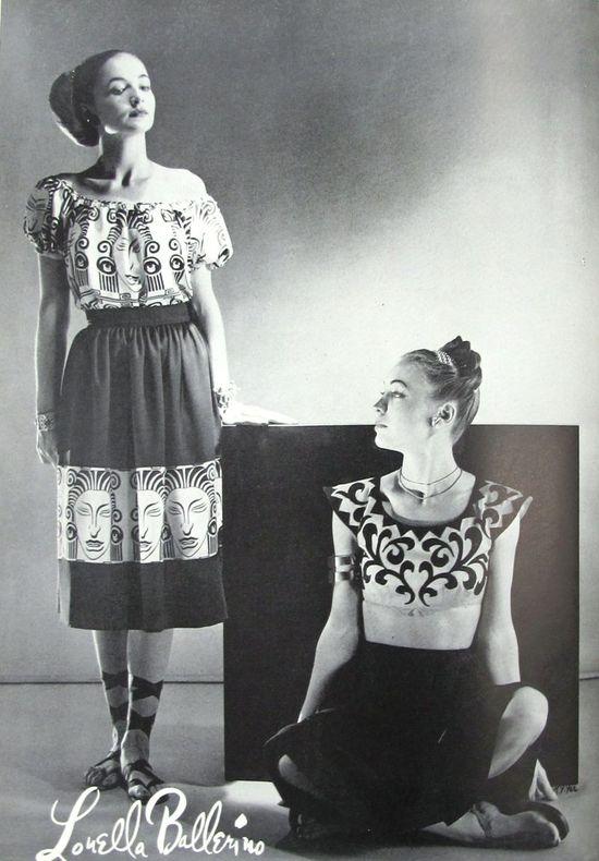 Ethnic inspired Louella Ballerino fashions, 1946. #vintage #1940s #summer #fashion