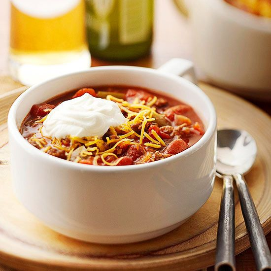 Here's our favorite Classic Chili recipe! Don't forget the sour cream and sprinkle of cheese! More chili recipes: www.bhg.com/...