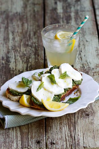 Bruschetta with Basil Pesto, Fior Di Late and Lemon by simply-delicious #Bruschetta #Pesto #Mozzarella