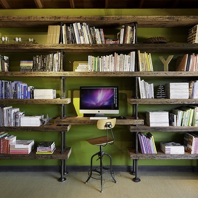 Pipe and wood office/bookshelf Design, Pictures, Remodel, Decor and Ideas ... really love this