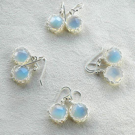 earrings opalite crochet wire