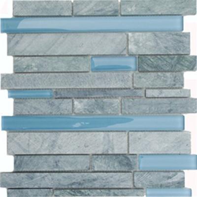 Bath tile. Grey and light blue.