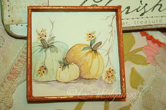 HAND PAINTED PASTEL PUMPKINS - HANDMADE FRAME FOR MINIATURES -  Vintage Nest Designs, Creative Handmade and Hand Painted Designs