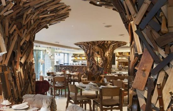restaurant in Epic Hotel Interior Design with Original Eclectic Decor.How to use furniture parts