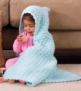 Crochet Hooded Baby Blanket :) #crochet #baby #shower