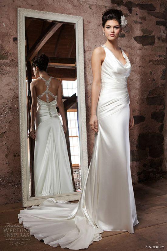 sincerity bridal wedding dresses 2013 cowl draped charmeuse tank top