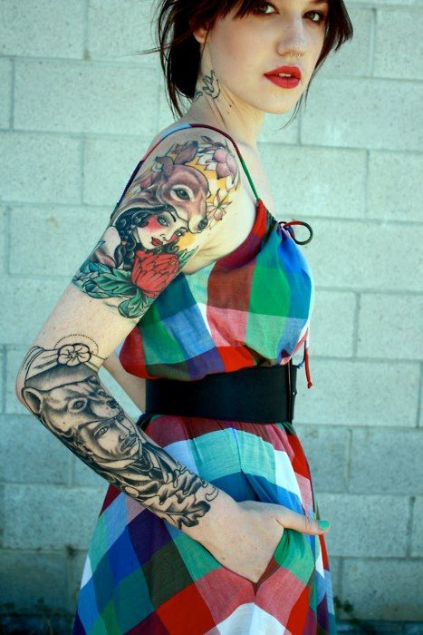 Tattoo, red lips, colorful dress #ink