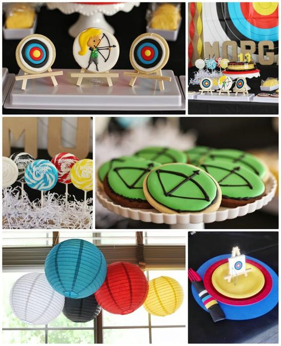 Archery Themed Birthday Party  Cute for a HUNGER GAMES or ROBIN HOOD Party! #Tween #BowAndArrow #PartyIdeas #Supplies #hungergames #archery #birthday #party #decor