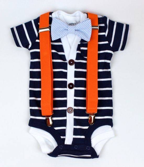 Cardigan and Bow Tie Onesie Set Navy with Seersucker by HaddonCo