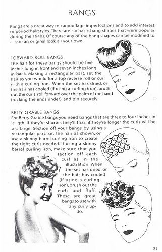Howto instructions for creating 1940s style forward roll and Betty Grable style bangs. #howto #instructions #vintage #hair #bangs #1940s #hairstyle