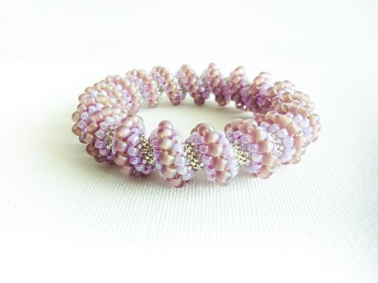 Wedding beaded bangle  Cellini  spiral