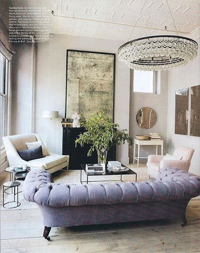 luxury, lavender tufted sofa, aged mirror, interior design, living room