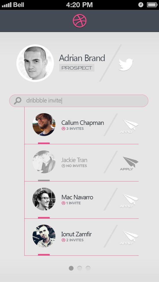 Minimalist Dribbble Invite Search App