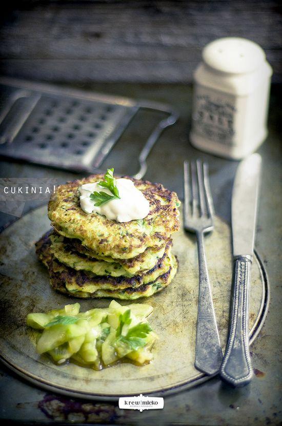Zucchini & garlic pancakes