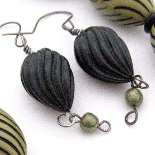 Handmade Earrings Retro Carved Black and Avocado by GalleriaLinda