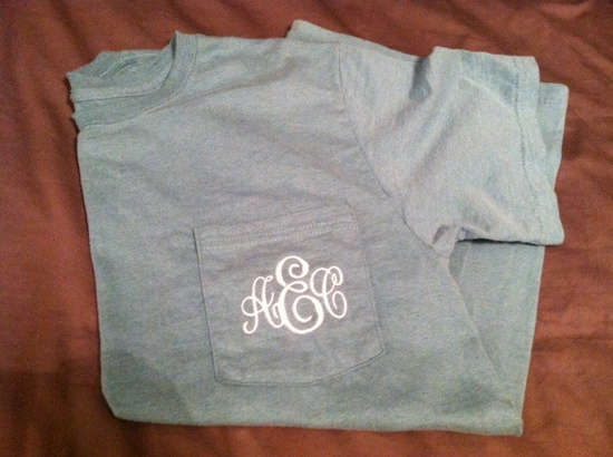 Monogram Pocket Tees , All colors available. $22.50, via Etsy.