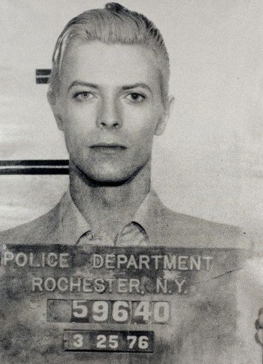 Even his Mug Shot is Cool ~ LOL ~ This mugshot was taken four days after David Bowie was arrested for possession of cannabis. Police busted 29-year-old Bowie, his buddy Iggy Pop and a couple ladies at 2:25am in The American Rochester Hotel following a concert in town.